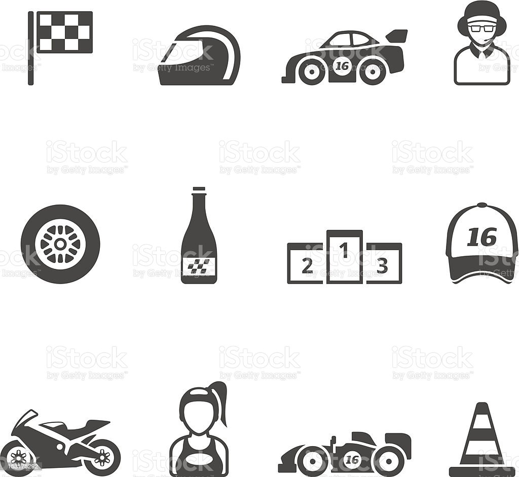 Single Color Icons -  Racing royalty-free stock vector art