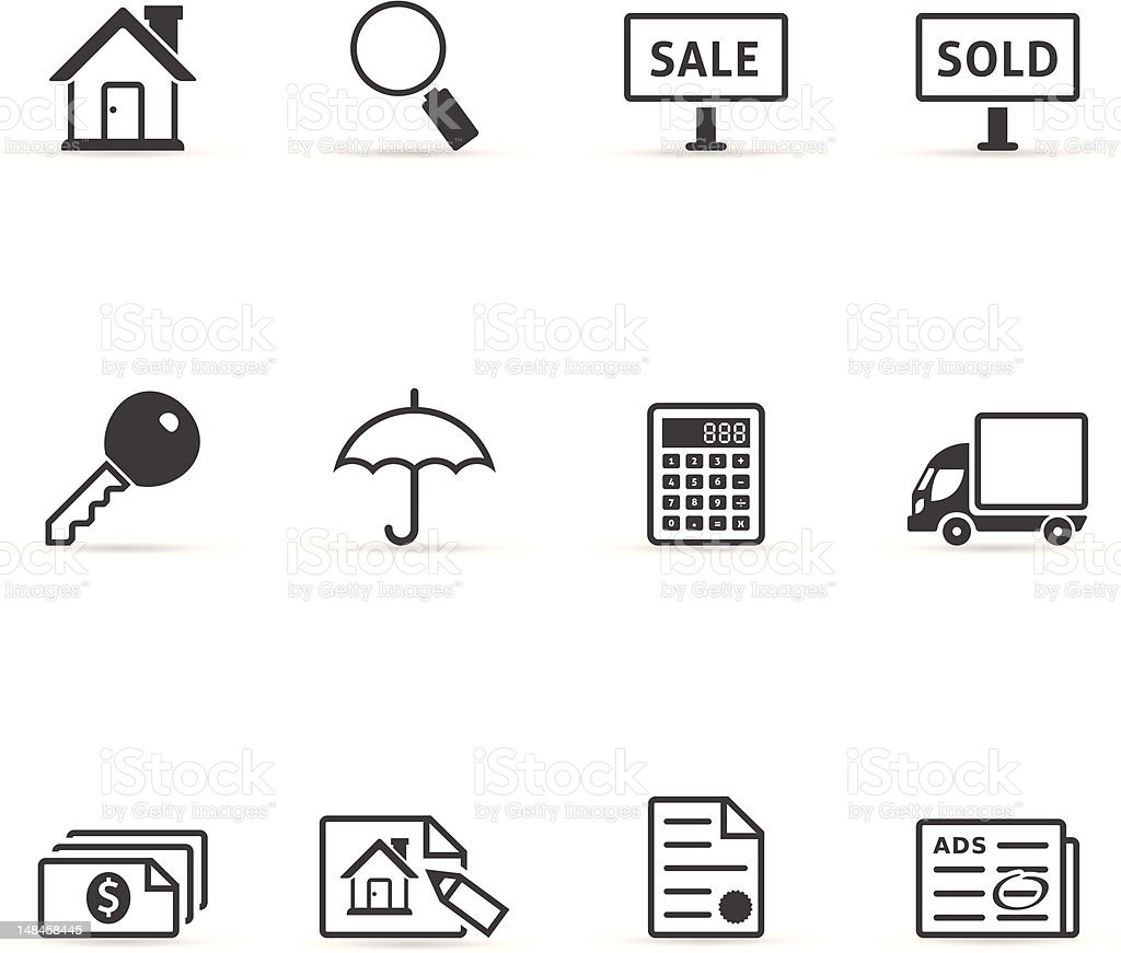 Single Color Icons - Real Estate royalty-free stock vector art