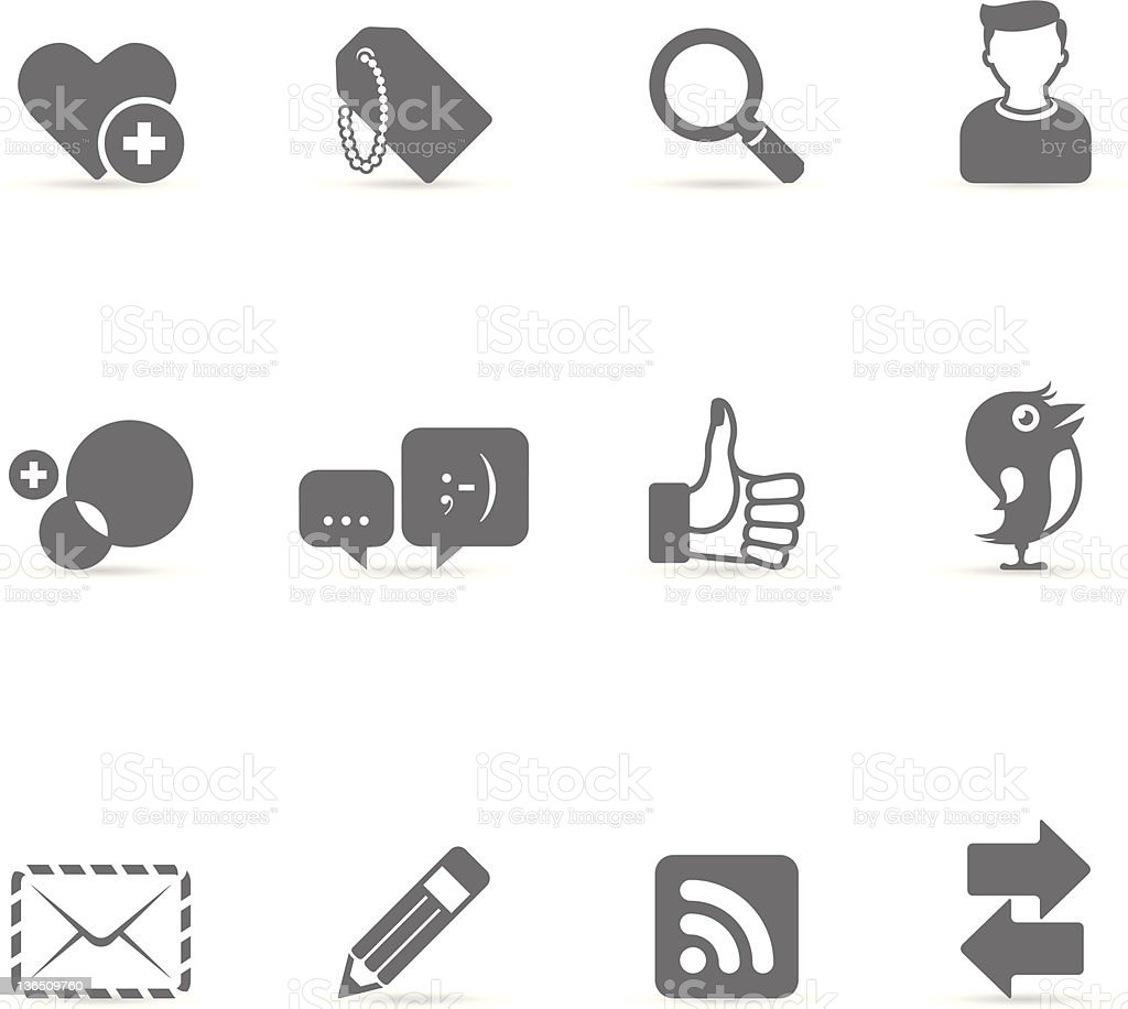 Single Color Icons - Social Network royalty-free stock vector art