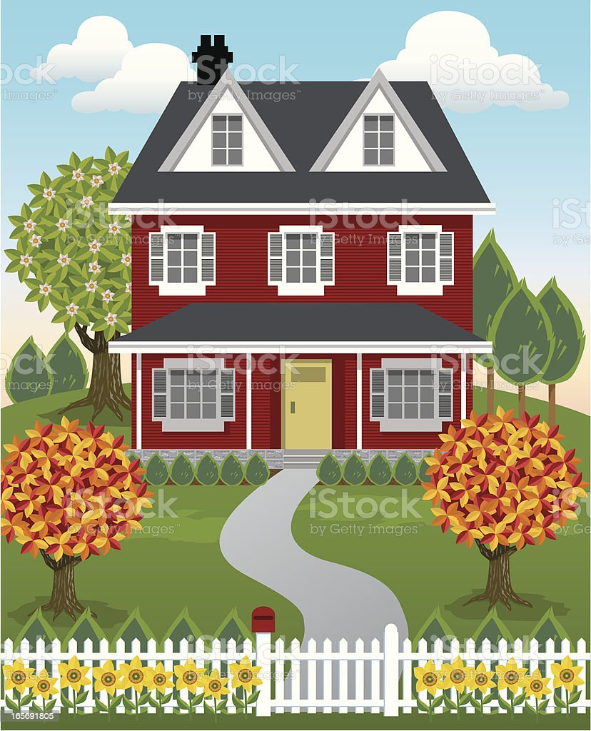 Single Country House royalty-free stock vector art