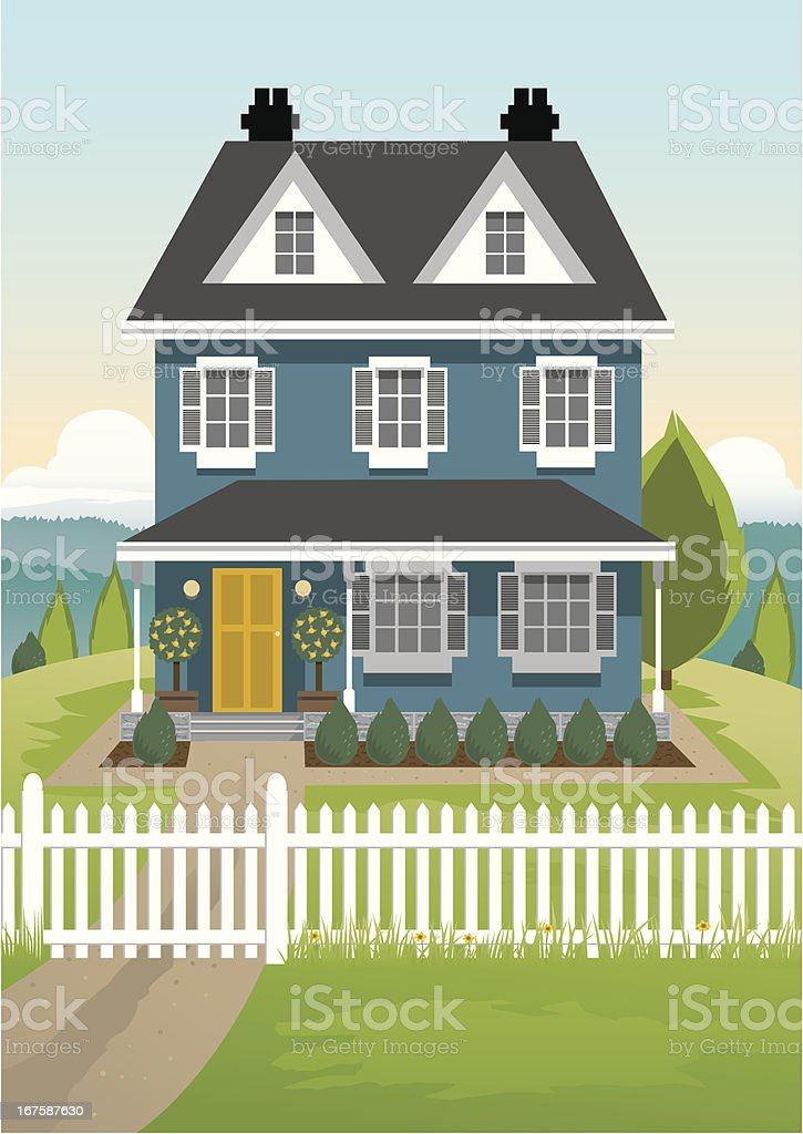 Single Country House vector art illustration