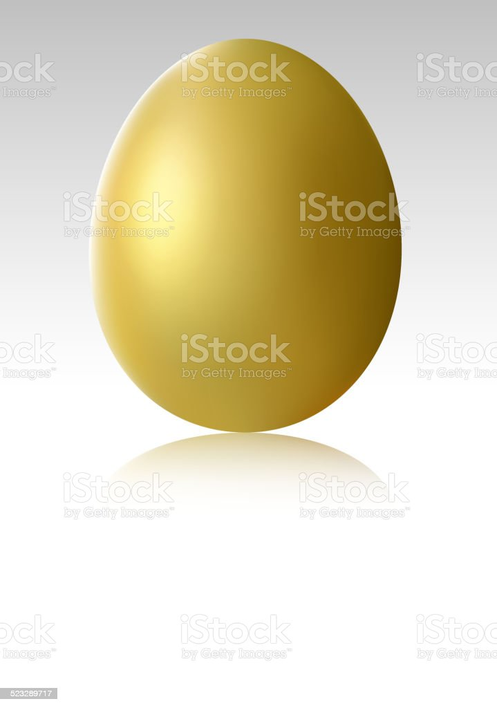 Single gold chicken egg vector art illustration