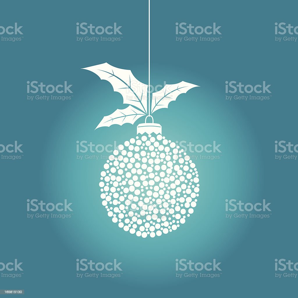 Single Hanging Christmas Ornament With Holly royalty-free stock vector art