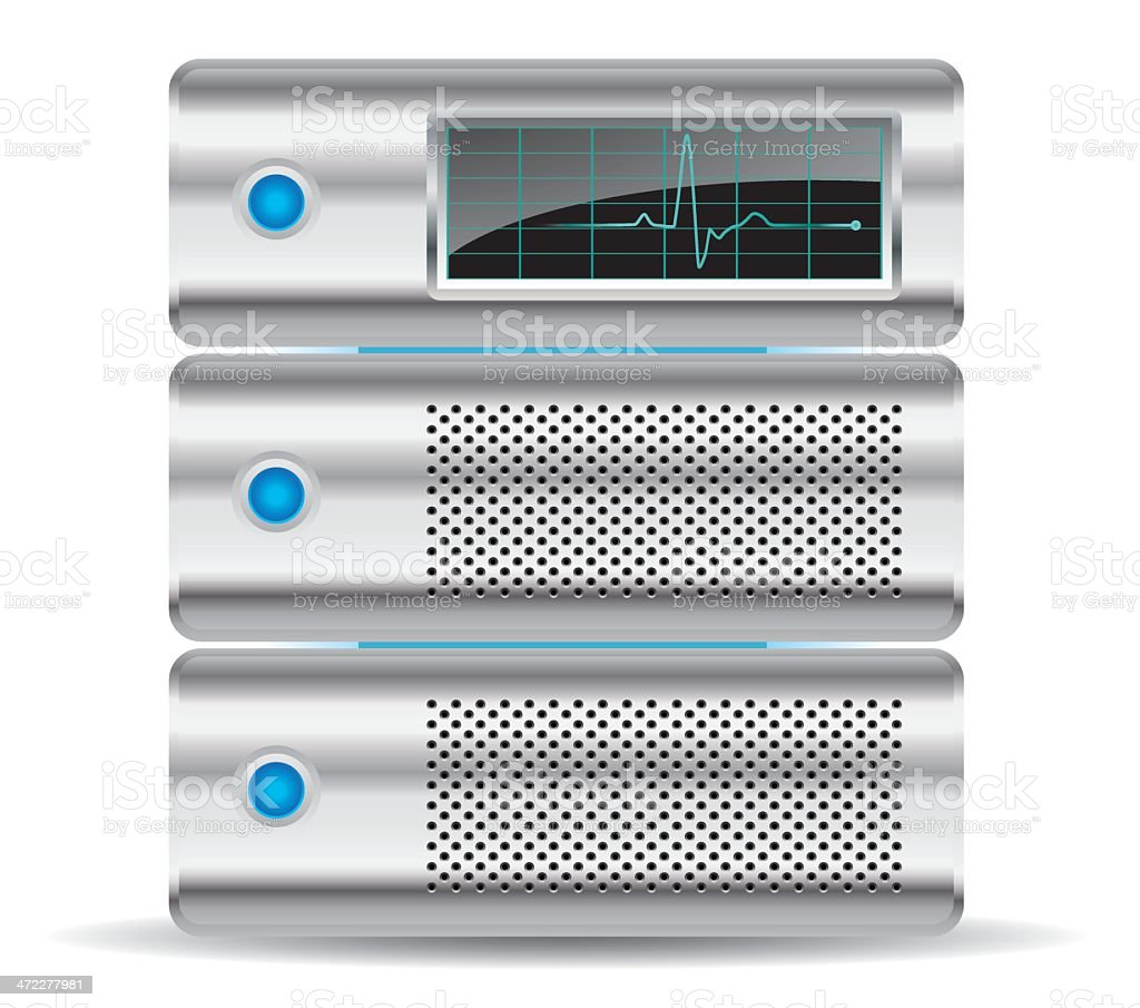 Single Icons: Server Rack with Activity Monitor royalty-free stock vector art