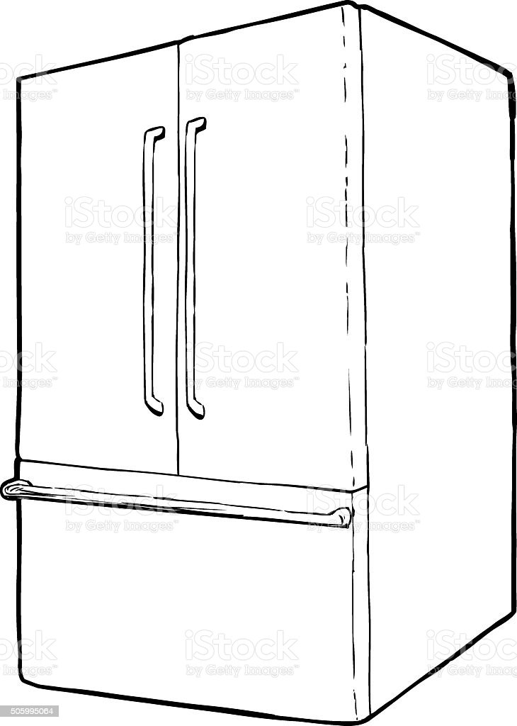 Single isolated refrigerator vector art illustration