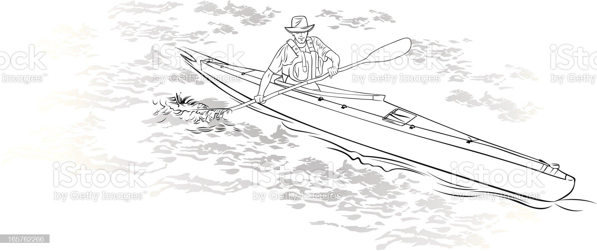Single kayaker kayaking on open water royalty-free stock vector art