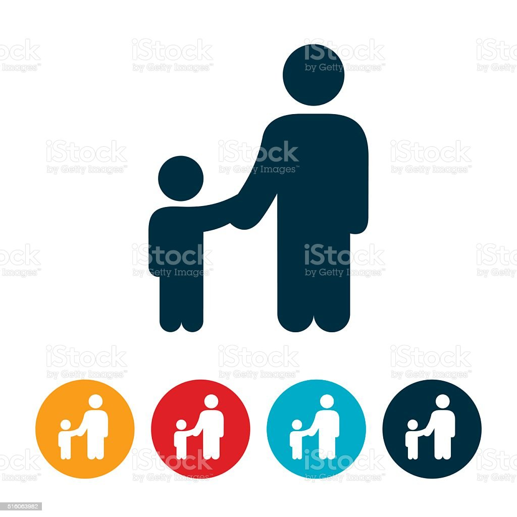 Single Parent With Child Icon vector art illustration