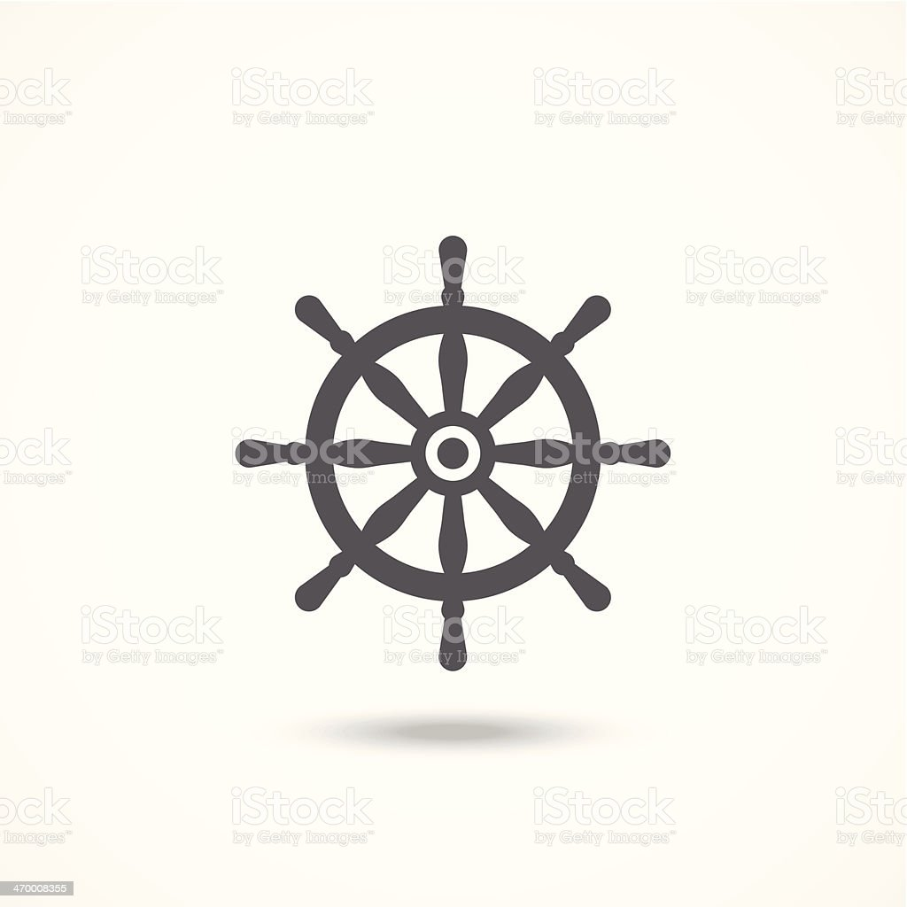Single rudder icon with shadow in black over white vector art illustration