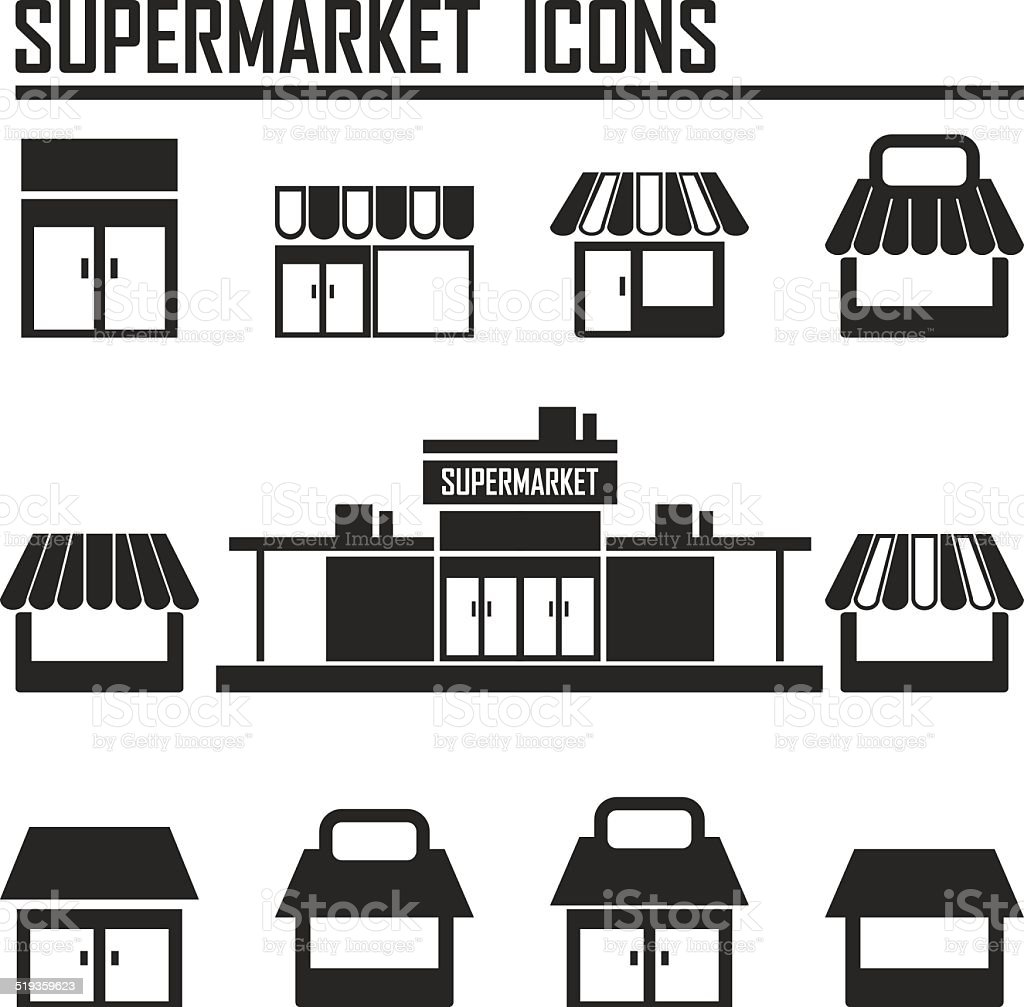 Single shop / store, supermarket vector icons set vector art illustration