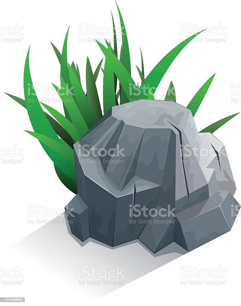 Single stone with grass vector art illustration