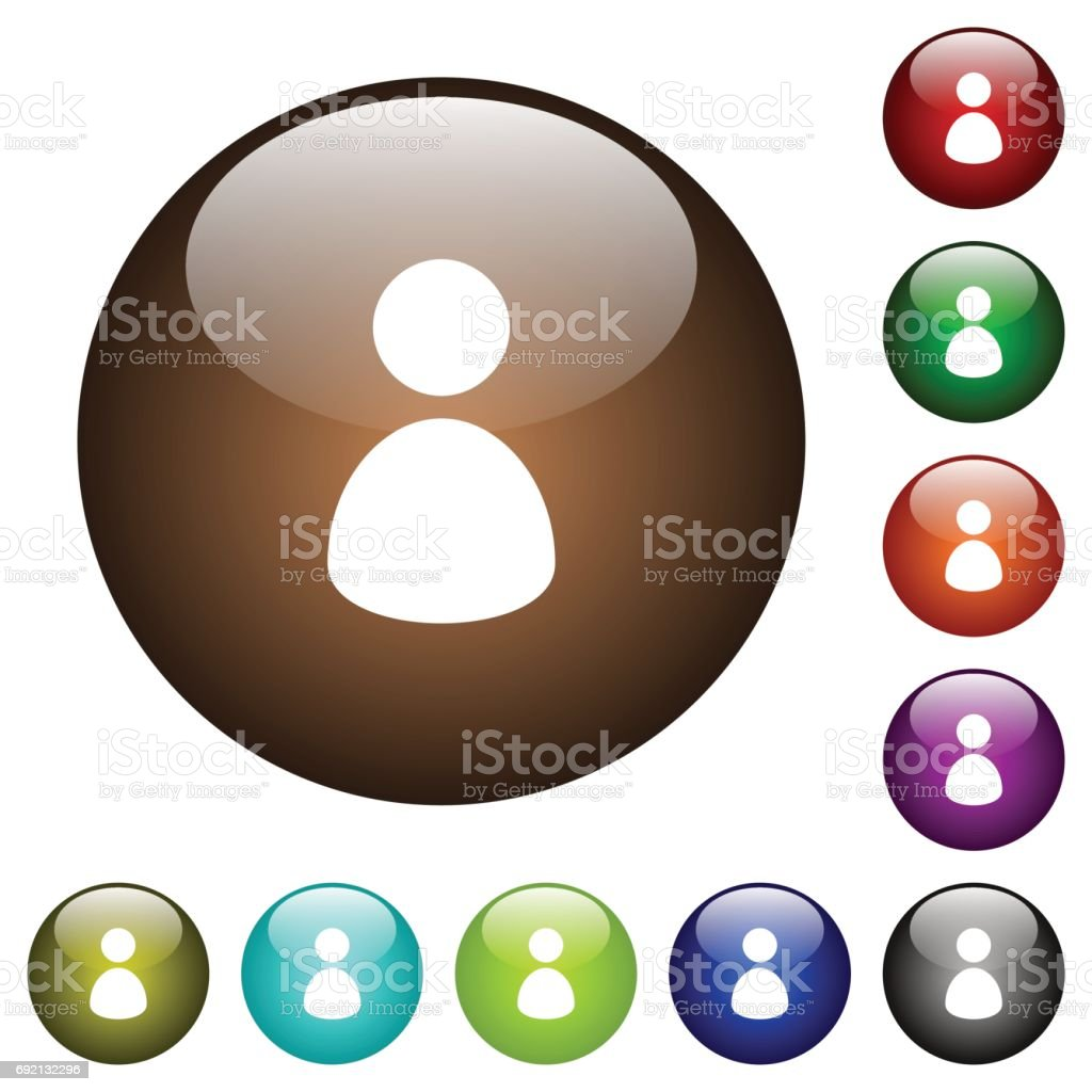 Single user color glass buttons vector art illustration