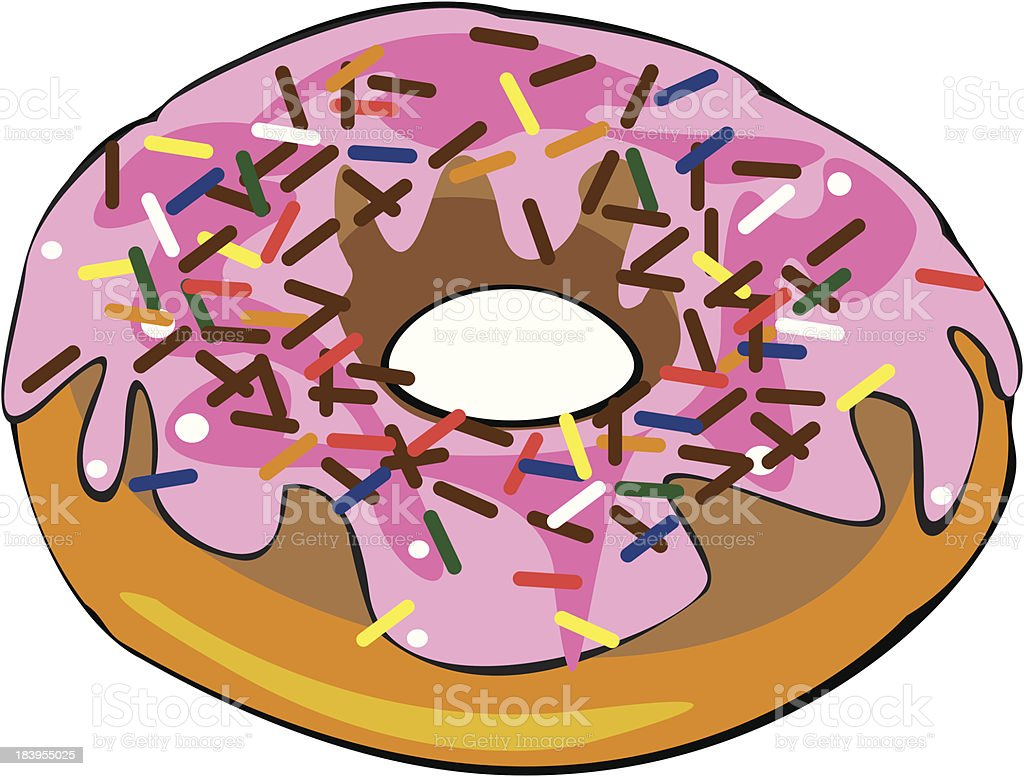 single vector donut with pink glaze isolated on white background royalty-free stock vector art