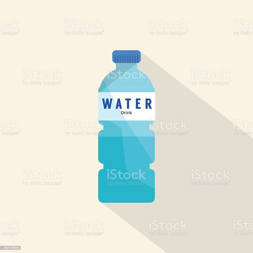 Single Water Plastic Bottle Flat Deign Vector Illustration. vector art illustration