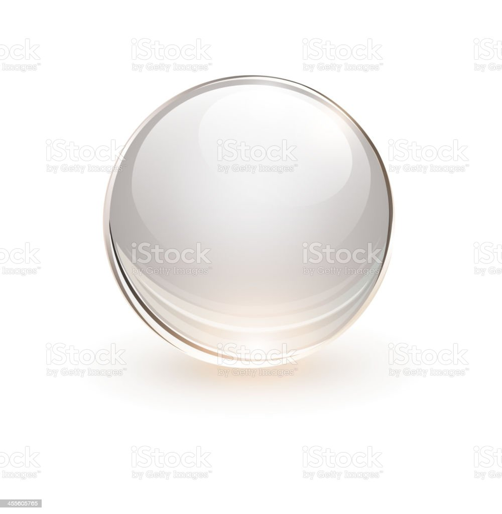 Single white 3D rendition of a glass sphere vector art illustration