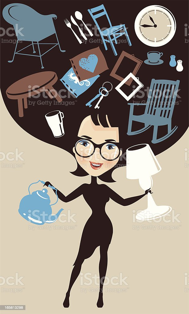 Single woman decorating the house. royalty-free stock vector art