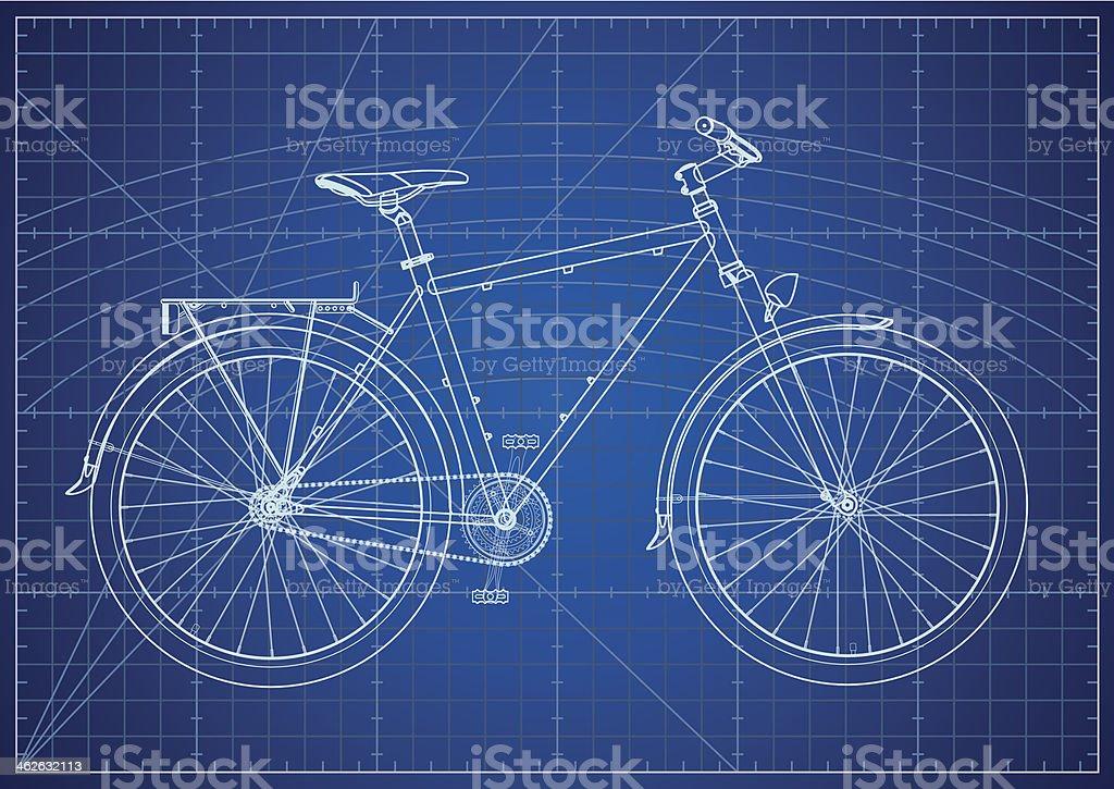 Single-speed City Bicycle Blueprint vector art illustration