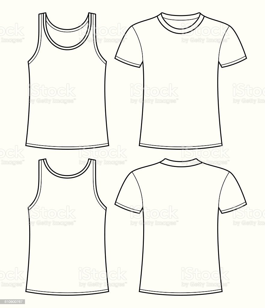 Singlet and T-shirt template - front and back vector art illustration
