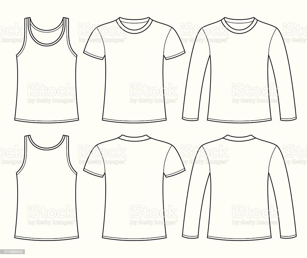 Singlet, T-shirt and Long-sleeved T-shirt template vector art illustration