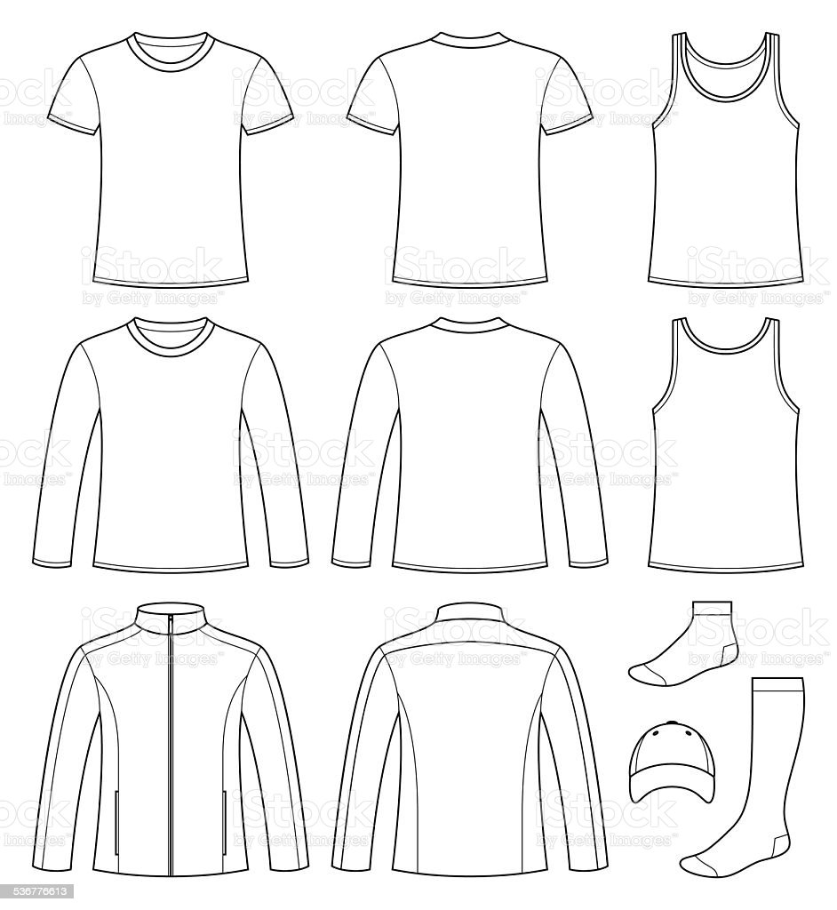 Singlet, T-shirt, Long-sleeved T-shirt, Jacket, Socks and Cap te vector art illustration