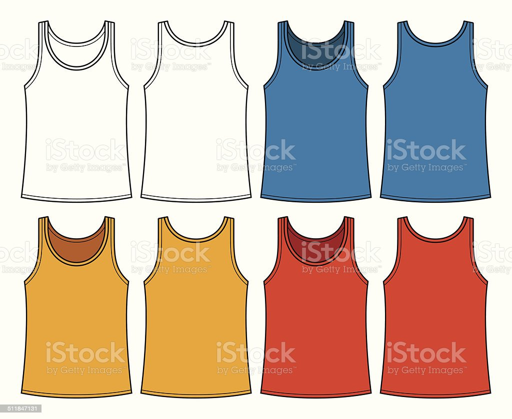 Singlets template - front and back vector art illustration