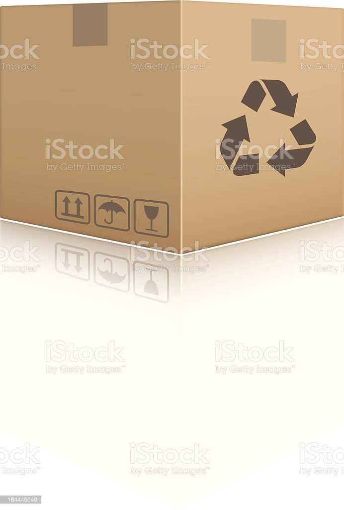 A singular cardboard box on white vector art illustration