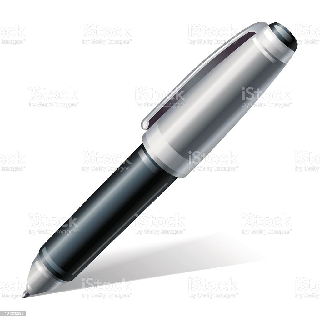 A singular chunky pen with a shadow royalty-free stock vector art