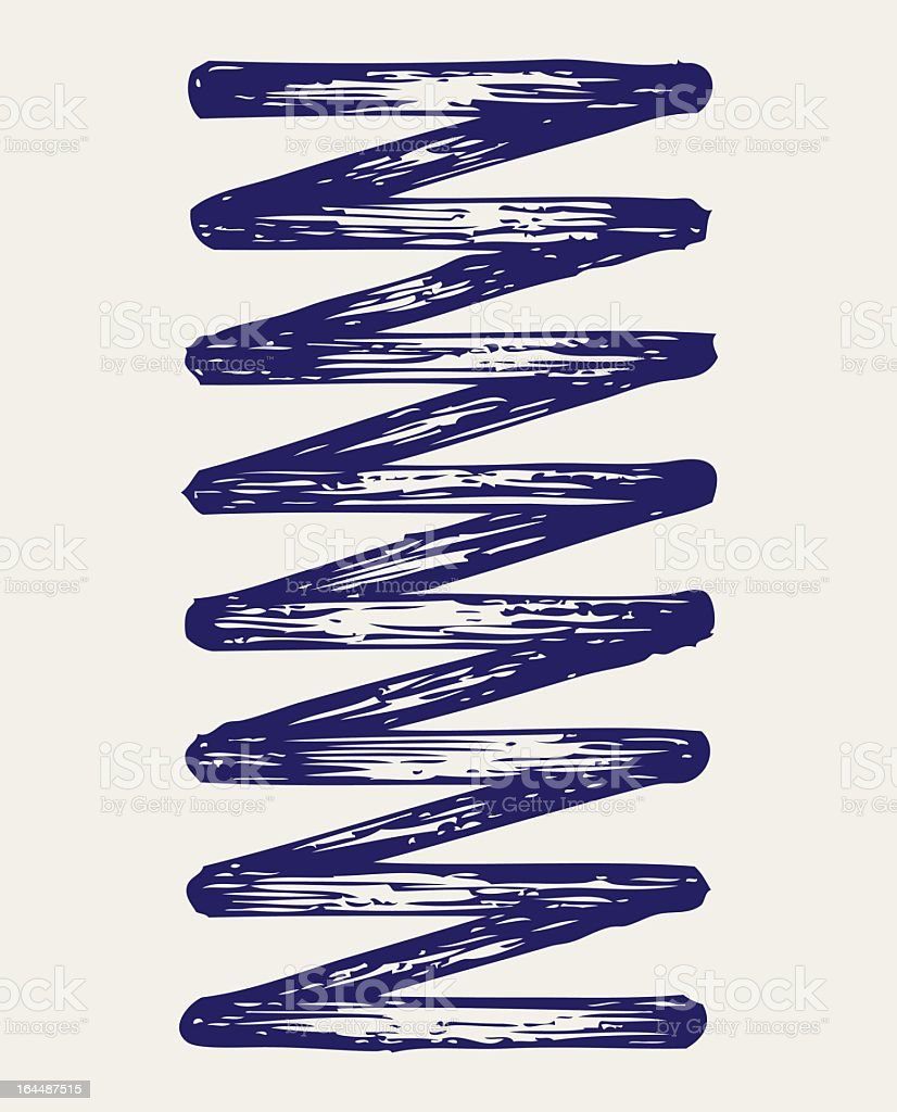 A singular coiled metal Spring royalty-free stock vector art
