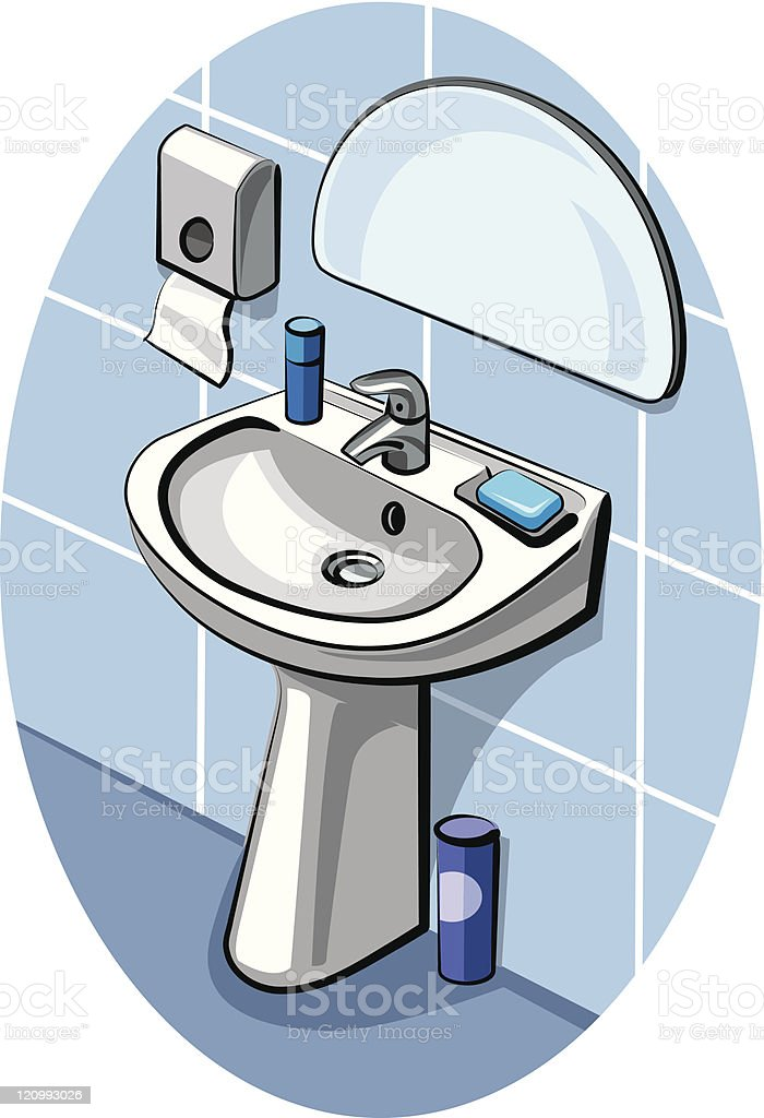 sink and faucet in bathroom royalty-free stock vector art