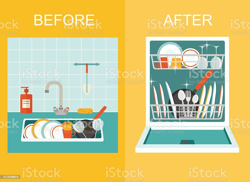 Sink and Open dishwasher with clean dishes. Flat vector illustration. vector art illustration