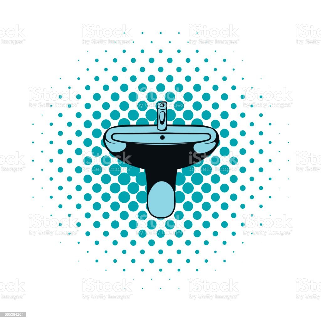 Sink comics icon vector art illustration