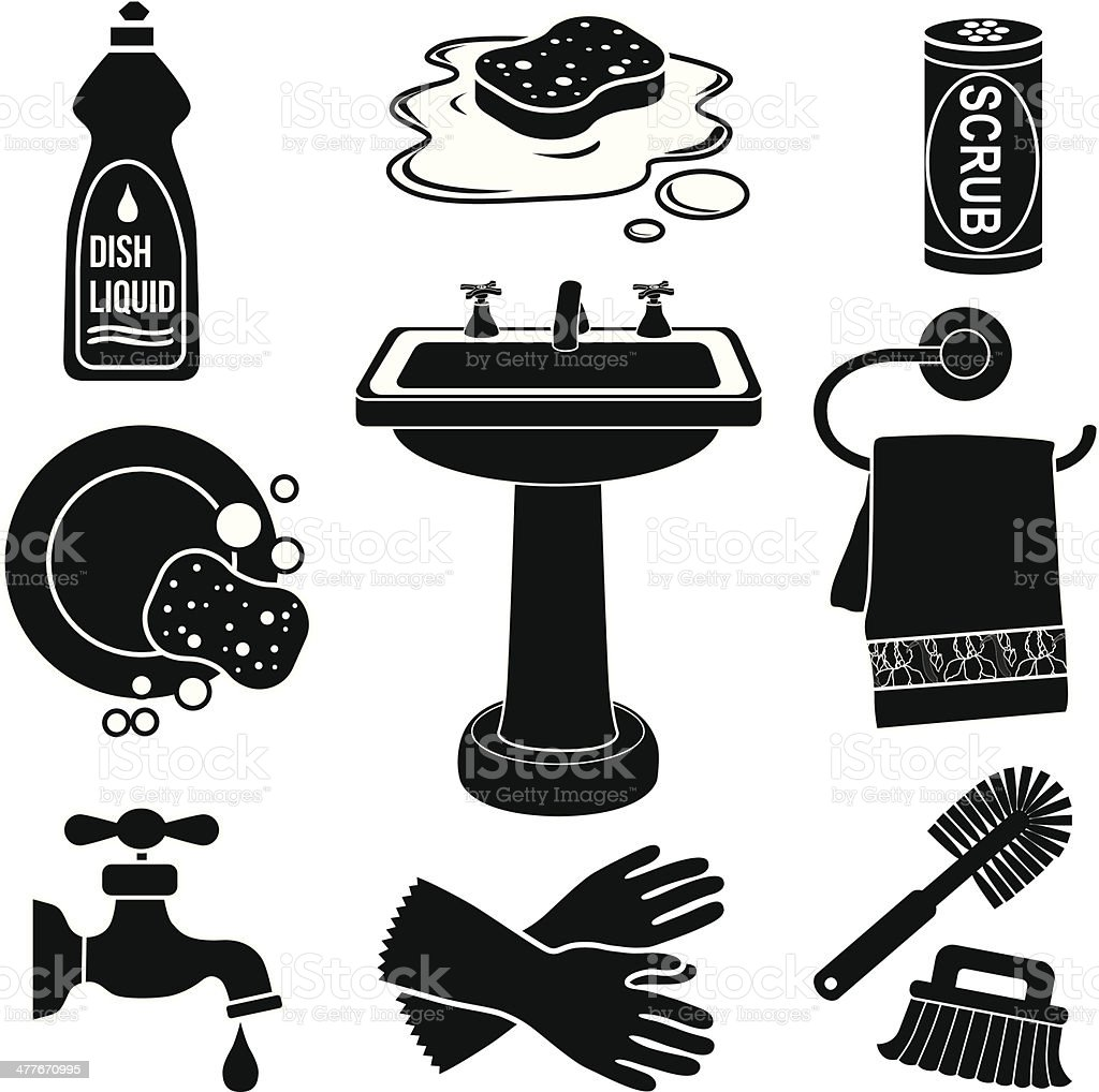 sink icon set vector art illustration