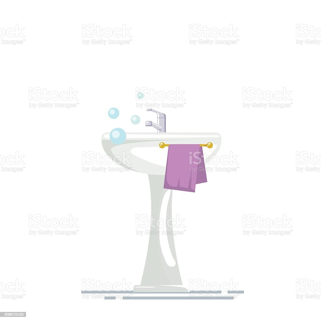 Sink with mixer tap and a towel in the bathroom vector art illustration