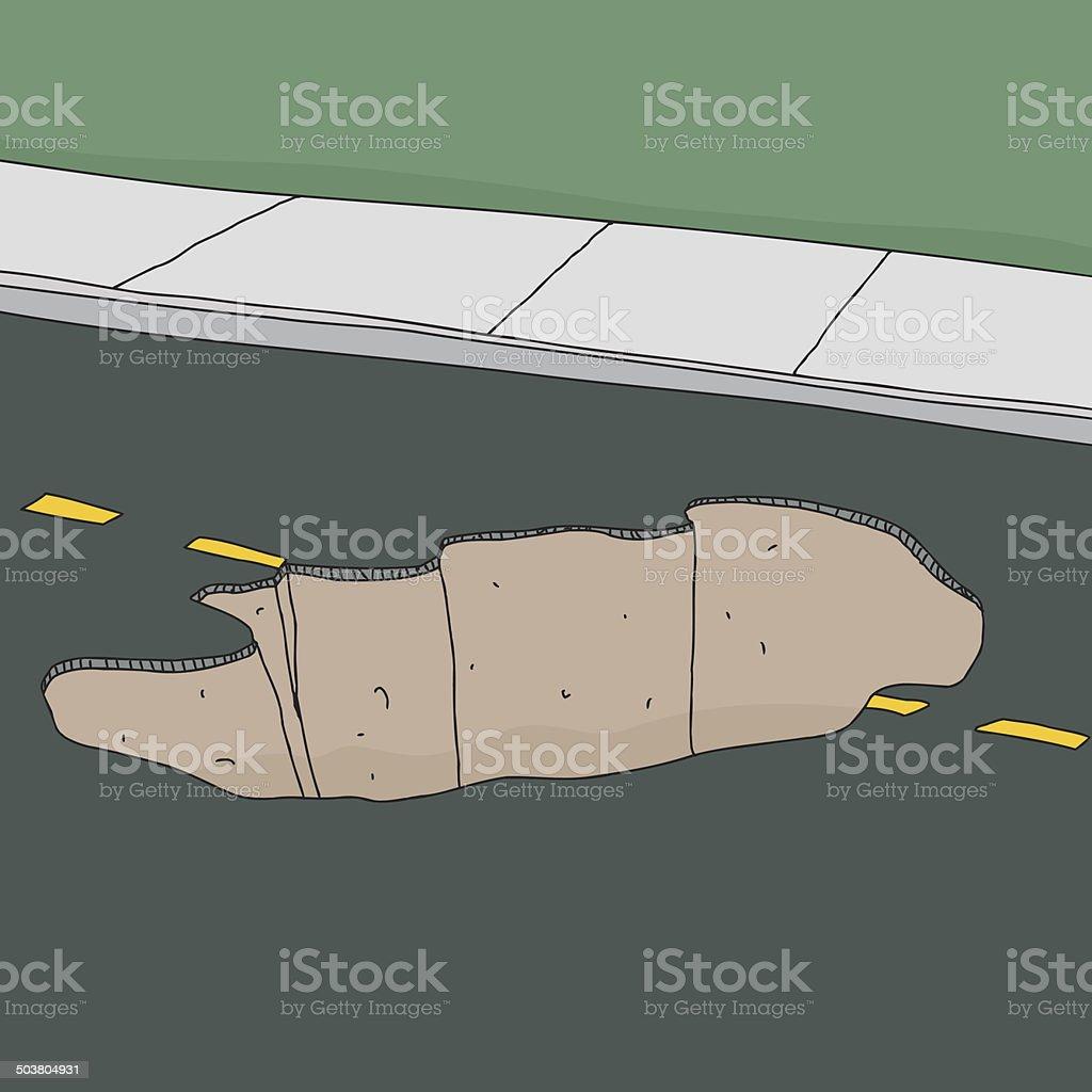 Sinkhole in Road vector art illustration