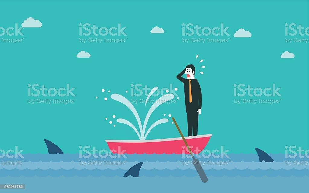 Sinking boat vector art illustration