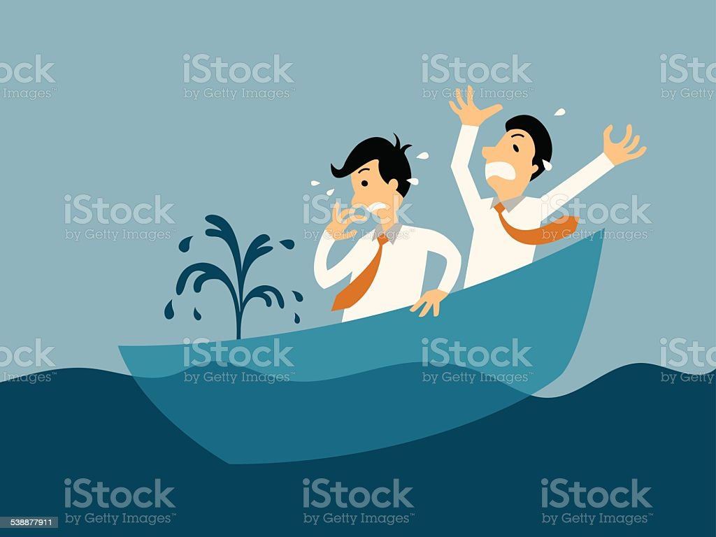 Sinking boat vector art illustration