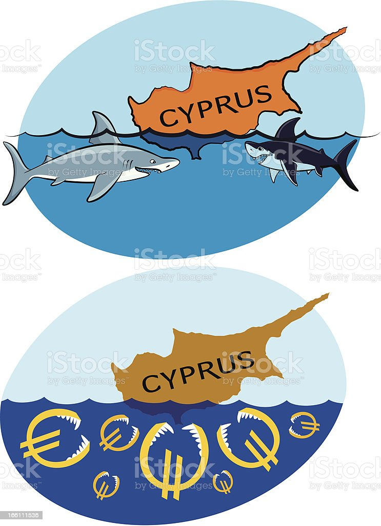 sinking cyprus and sharks royalty-free stock vector art