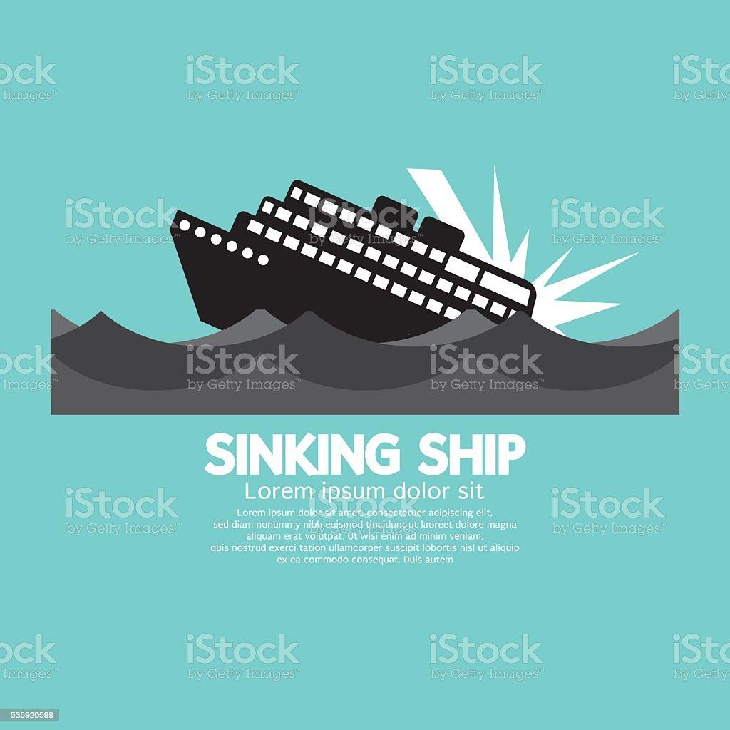 Sinking Ship Black Graphic vector art illustration