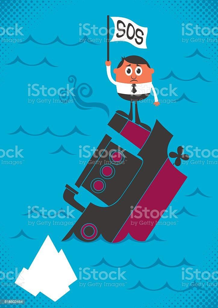 Sinking Ship vector art illustration