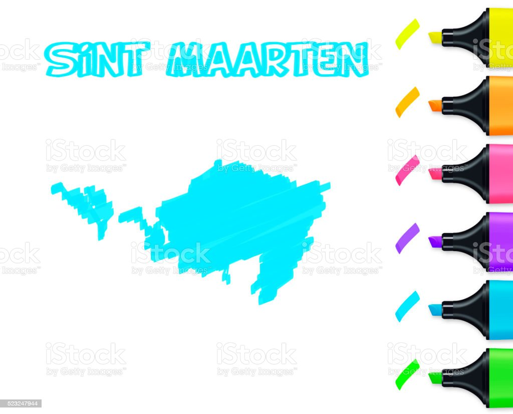 Sint Maarten map hand drawn on white background, blue highlighter vector art illustration