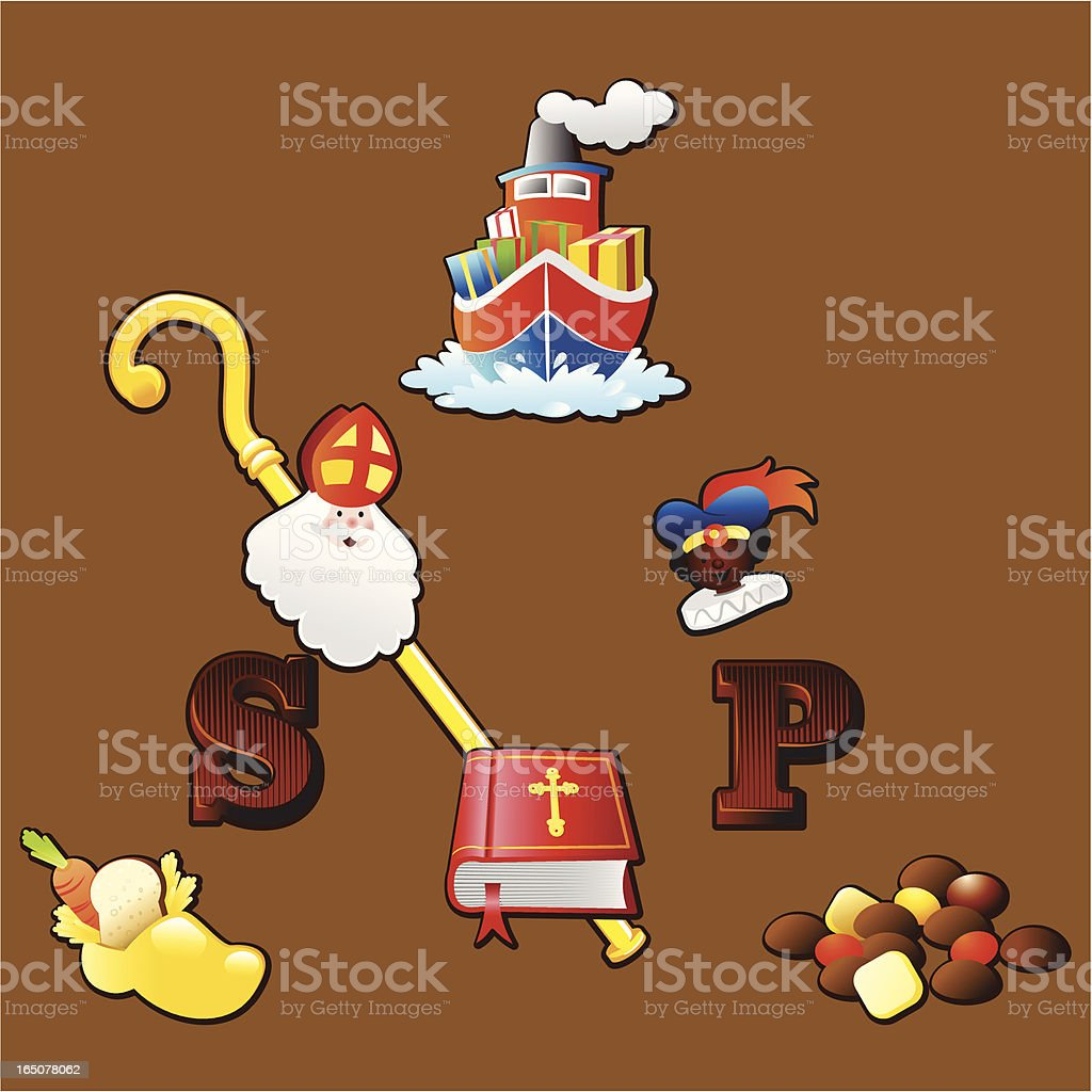 Sinterklaas icons vector art illustration