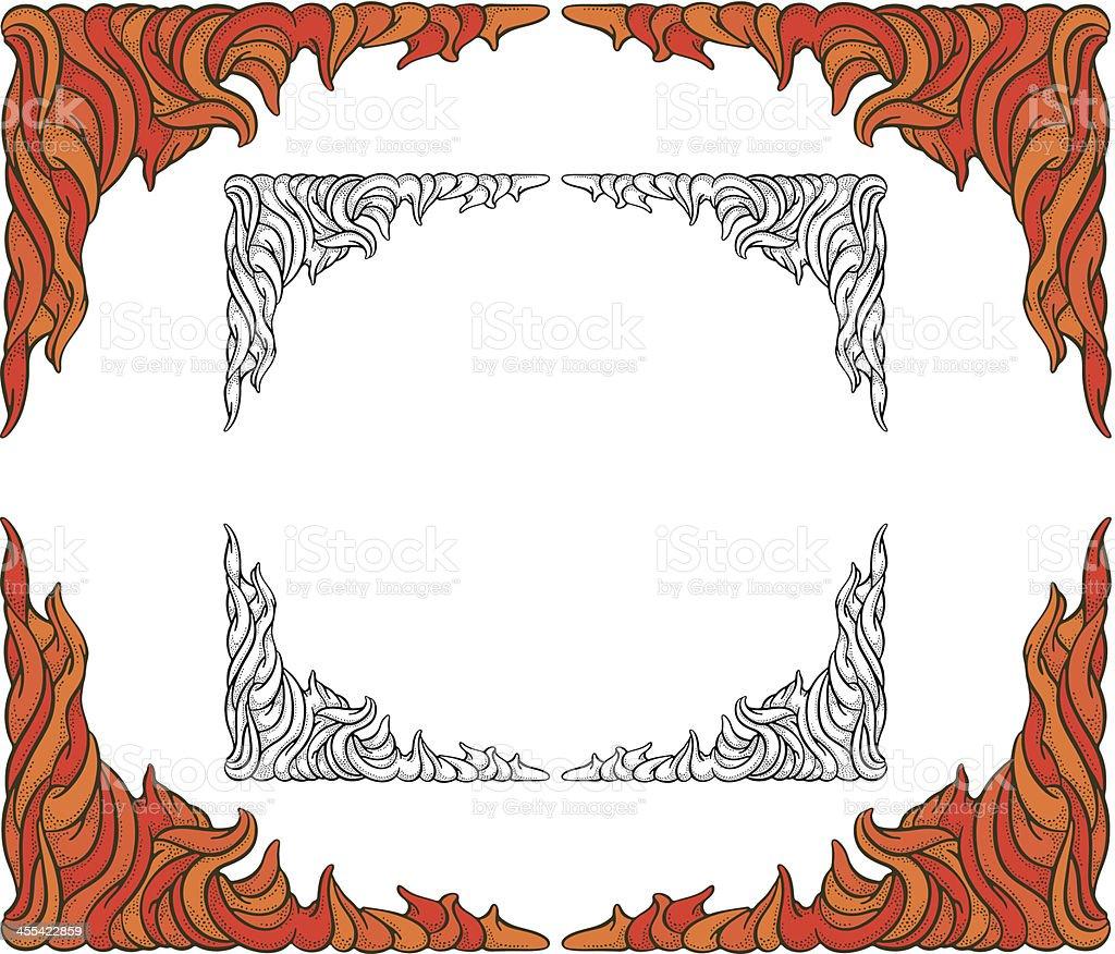 Sinuous Fire Border vector art illustration