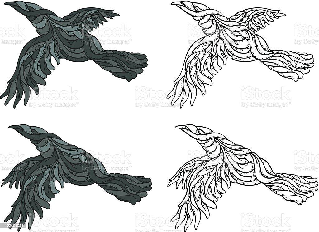 Sinuous Ravens Flying vector art illustration