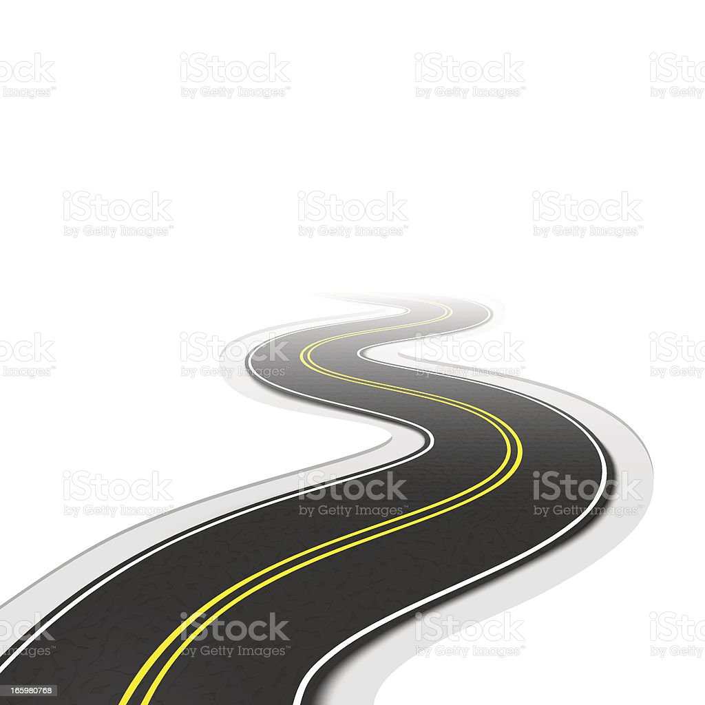 Sinuous road on white background vector art illustration