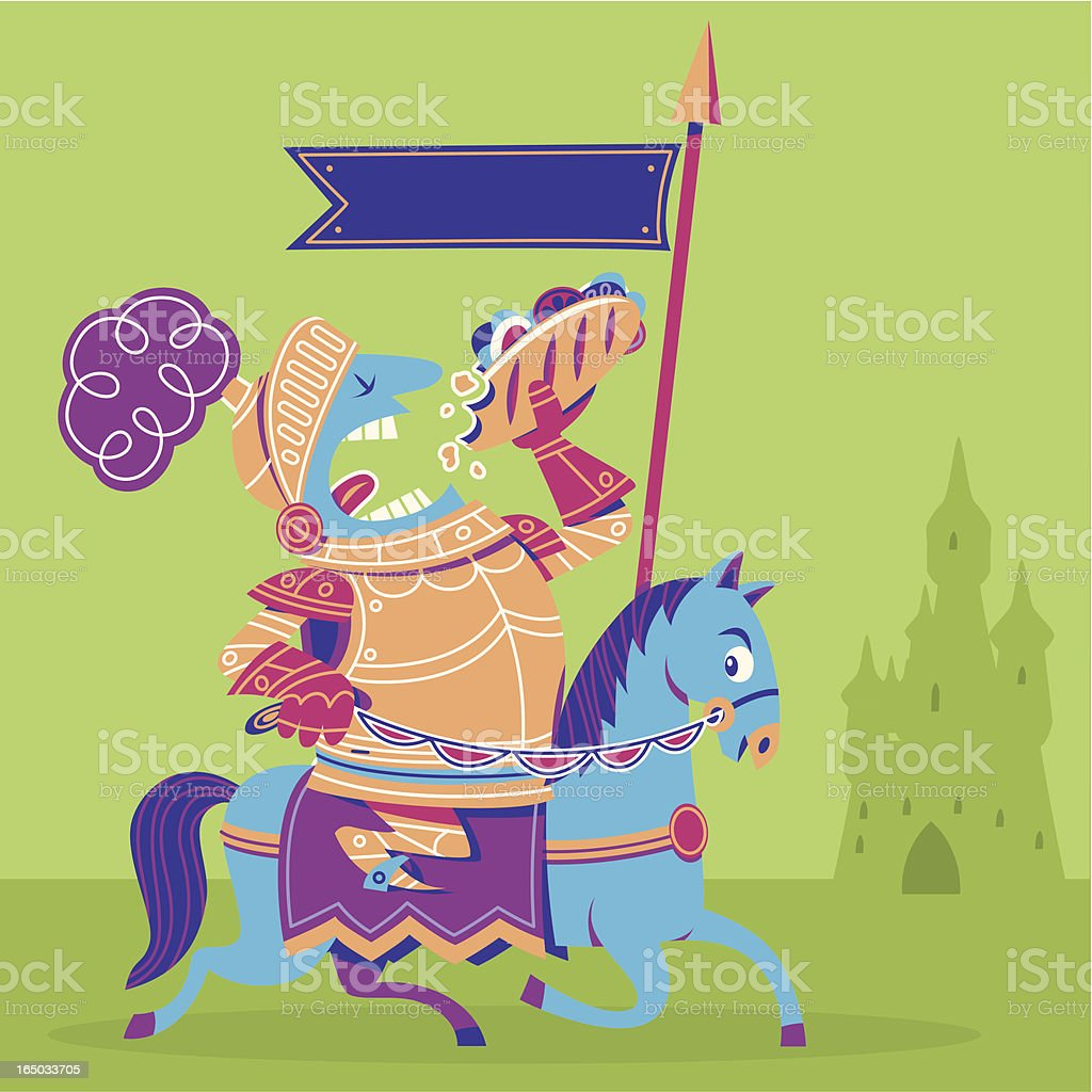 Sir Lunchalot + Castle vector art illustration