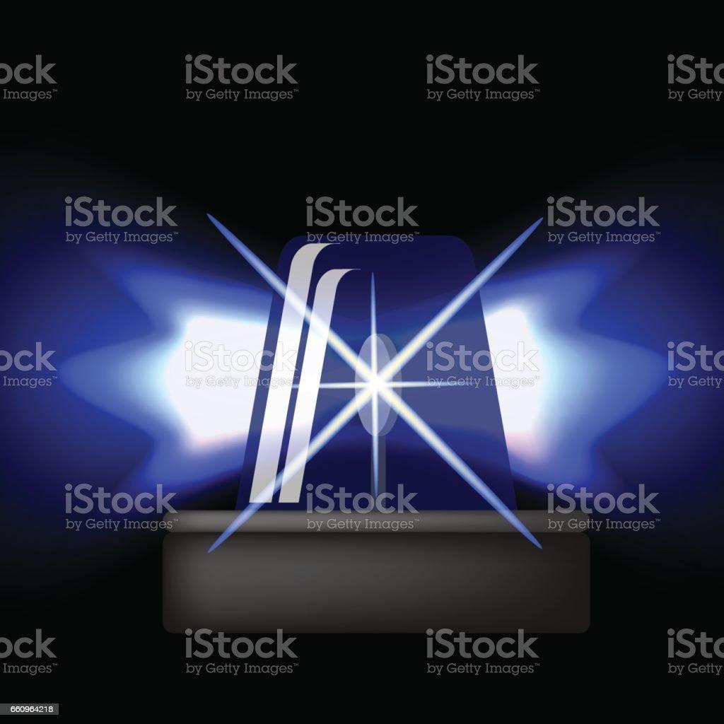 Siren Icon. Blue Emergency Flash. Car Alarm vector art illustration