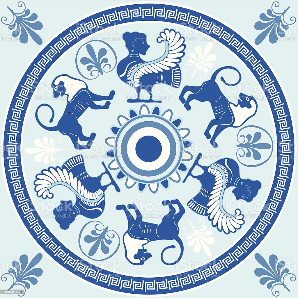 Sirens and lions Greek ornament in blue and white colors vector art illustration