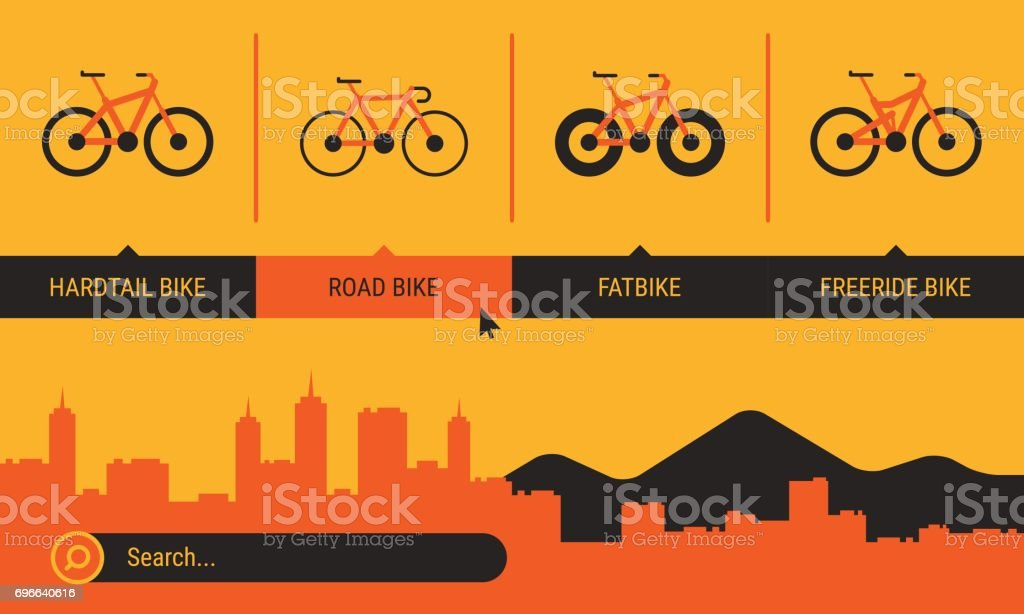 Site Header Different Bicycle Bikes Search Orange Yellow Black Color vector art illustration