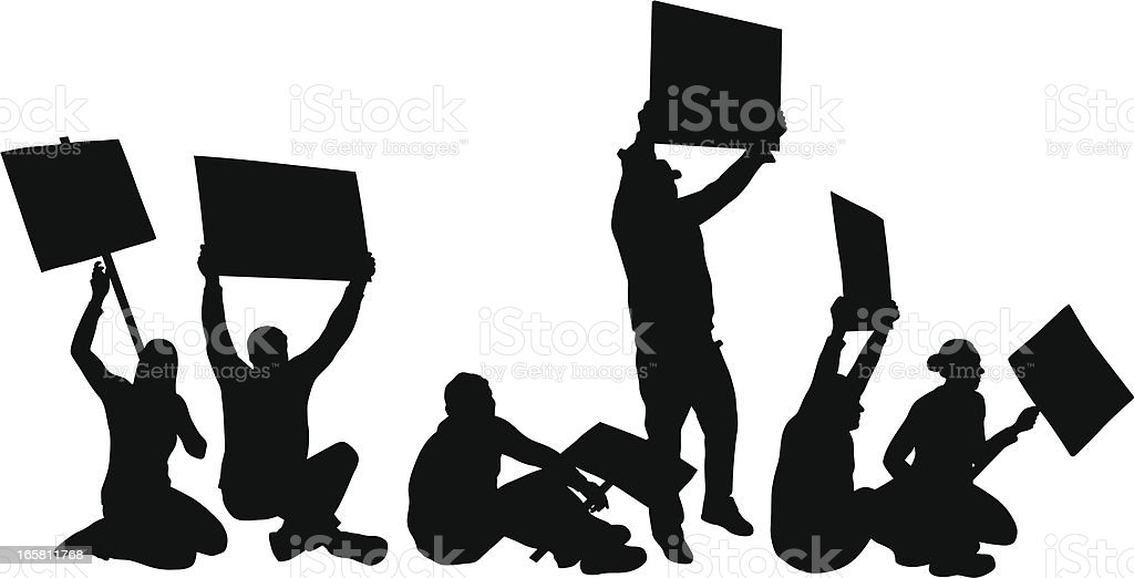 Sit-In Vector Silhouette royalty-free stock vector art
