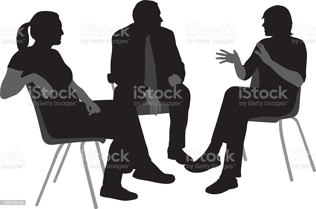 Sitting And Talking Silhouettes vector art illustration