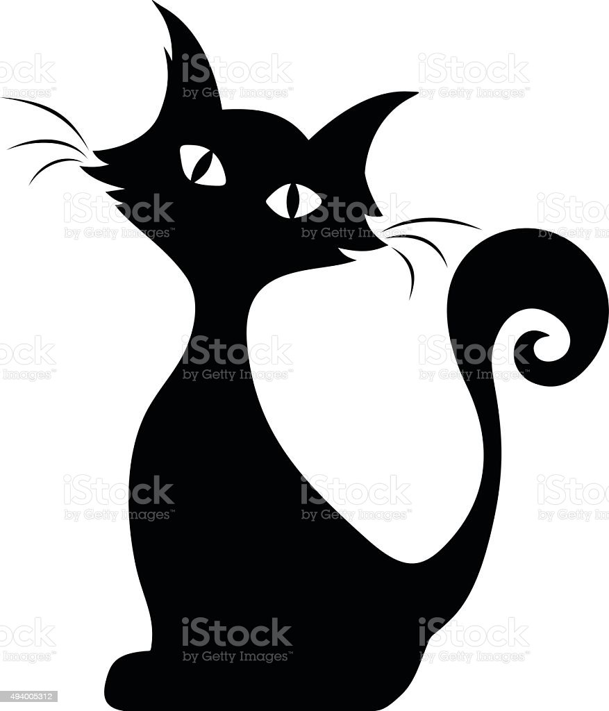 Sitting cat. Vector black silhouette. vector art illustration